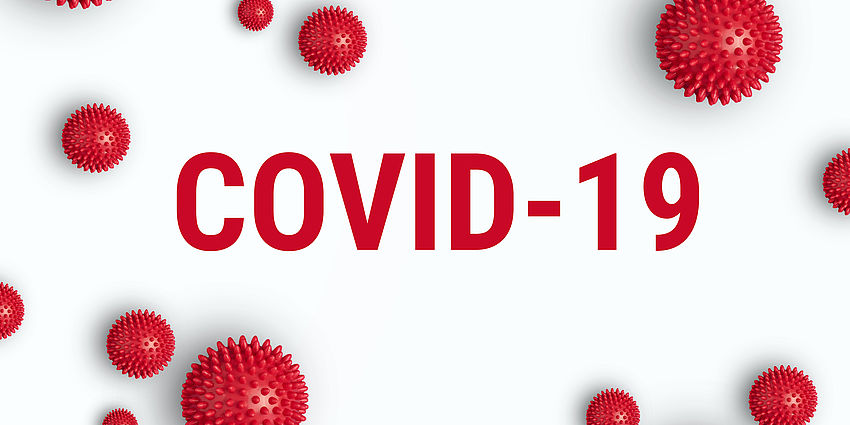 red letters say covid 19